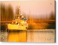 Ship At Dusk  Acrylic Print by Frank Bright