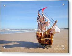 Ship Model On Summer Sunny Beach Acrylic Print by Michal Bednarek