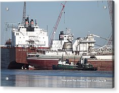 Ships In Harbor Acrylic Print by Dave Pape