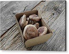 Shitake Mushroom In Cardboard Packaging On Wood Background Acrylic Print