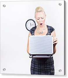 Shocked Accounting Employee Holding Open Briefcase Acrylic Print by Jorgo Photography - Wall Art Gallery
