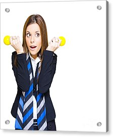 Shocked Woman With Ideas Of Business Innovation Acrylic Print by Jorgo Photography - Wall Art Gallery