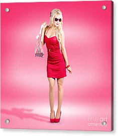 Shop Till You Drop. Female Retail Shopper In Red Acrylic Print by Jorgo Photography - Wall Art Gallery