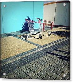 Shopping Trolleys  Acrylic Print by Les Cunliffe