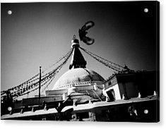 Silhouette Boudhanath Giant Buddhist Stupa In Kathmandu Himalaya Nepal  Acrylic Print