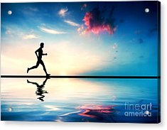 Silhouette Of Man Running At Sunset Acrylic Print