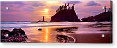 Silhouette Of Sea Stacks At Sunset Acrylic Print