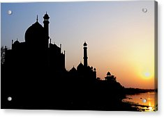Silhouette Of The Taj Mahal At Sunset Acrylic Print by Steve Roxbury