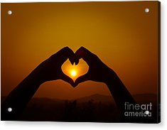 Silhouettes Hand Heart Shaped Acrylic Print by Tosporn Preede