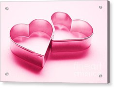 Simple Chrome Hearts On White Background Acrylic Print by Michal Bednarek