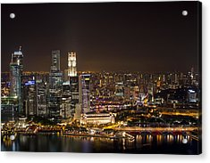 Singapore City Skyline At Night Acrylic Print by David Gn