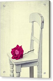 Single Red Rose Acrylic Print by Edward Fielding