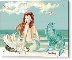 Siren Of The Sea Acrylic Print by Anne Beverley-Stamps