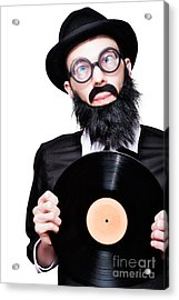 Sixties Retro Rock Man Holding Music Record Vinyl Acrylic Print
