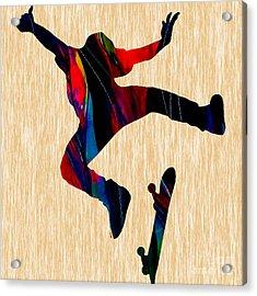 Skateboarder Art Acrylic Print by Marvin Blaine