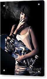 Skater Girl Smoking A Cigarette Acrylic Print