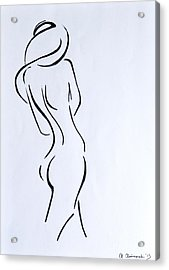Sketch Of A Nude Woman Acrylic Print