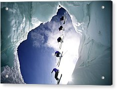 Skier Is Jumping Over A Glacier Cave Acrylic Print