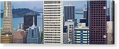 Skyscrapers In The Financial District Acrylic Print by Panoramic Images