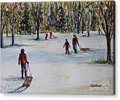 Sledding Acrylic Print by Joyce A Guariglia