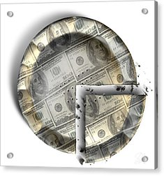Slice Of Us Dollar Money Pie Acrylic Print