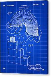 Slinky Patent 1946 - Blue Acrylic Print by Stephen Younts