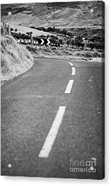 Small Narrow Country Road Leading To Dangerous Bend In County Antrim Northern Ireland Acrylic Print by Joe Fox