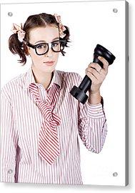 Smart Business Woman Devising Marketing Plan Acrylic Print by Jorgo Photography - Wall Art Gallery