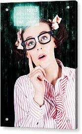 Smart Woman Hacking Network Access Code Acrylic Print