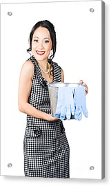 Smiling Female Cleaner Ready To Start Housework Acrylic Print by Jorgo Photography - Wall Art Gallery