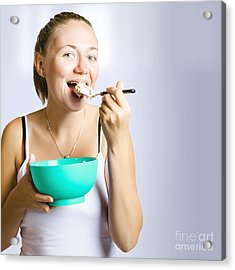 Smiling Girl Consuming Yoghurt Muesli Breakfast Acrylic Print