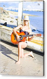 Smiling Girl Strumming Guitar At Tropical Beach Acrylic Print