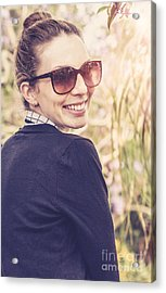 Smiling Happy Australian Tourist In Countryside Acrylic Print by Jorgo Photography - Wall Art Gallery