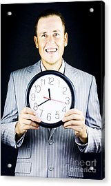 Smiling Man In Suit Holding A Clock Acrylic Print by Jorgo Photography - Wall Art Gallery