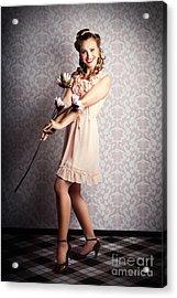 Smiling Retro Floral Girl In Elegant Pink Fashion Acrylic Print