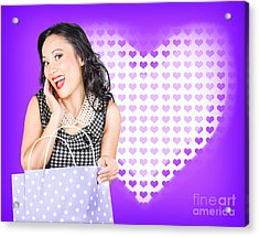 Smiling Woman With A Valentines Day Gift Bag Acrylic Print