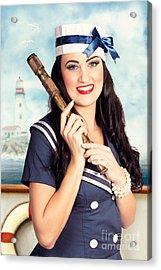 Smiling Young Pinup Sailor Girl. American Navy Acrylic Print