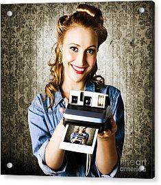 Smiling Young Vintage Girl Taking Polaroid Photo Acrylic Print