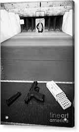 Smith And Wesson 9mm Handgun With Ammunition At A Gun Range In Florida Usa Acrylic Print by Joe Fox