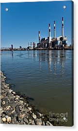Smokestacks Near Randall Island Acrylic Print by Amy Cicconi