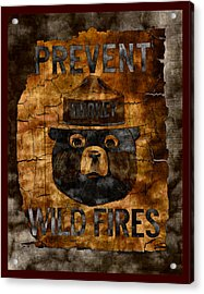 Smokey The Bear Only You Can Prevent Wild Fires Acrylic Print by John Stephens