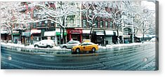 Snow Covered Cars Parked On The Street Acrylic Print