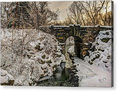 Snow-covered Glen Span Arch, Central Acrylic Print by F. M. Kearney