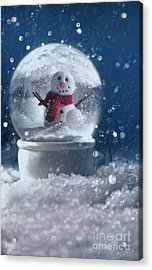 Acrylic Print featuring the photograph Snow Globe In A Snowy Winter Scene by Sandra Cunningham