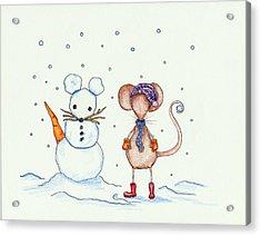 Snow Mouse And Friend Acrylic Print by Sarah LoCascio
