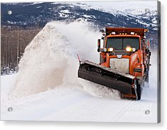 Snow Plough Clearing Road In Winter Storm Blizzard Acrylic Print by Stephan Pietzko