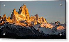 Snowcapped Mountain Range, Mt Fitzroy Acrylic Print by Panoramic Images