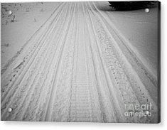 snowmobile tracks in the snow Kamsack Saskatchewan Canada Acrylic Print by Joe Fox