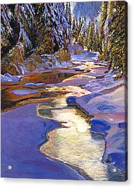 Snowy Creek Acrylic Print by David Lloyd Glover