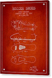 Soccer Shoe Patent From 1967 Acrylic Print by Aged Pixel